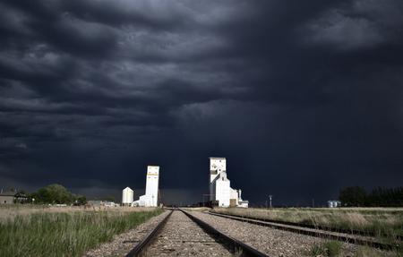 Storm over Grrain Elevator in Saskatchewan Canada Stock Photo