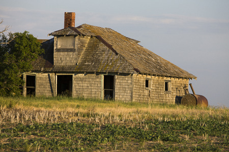 Abandoned Farm Buildings in saskatchewan canada weathered