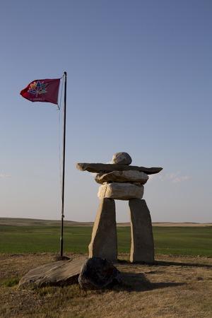 Inukshuk inukchuk Saskatchewan Canada greeting at border