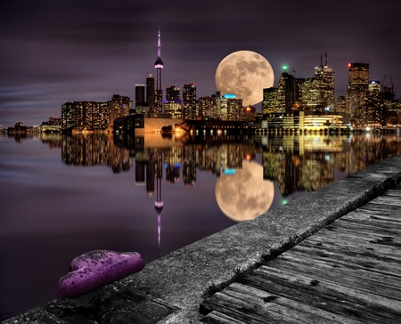Full Moon Toronto Skyline City Lake Ontario Pier Stok Fotoğraf