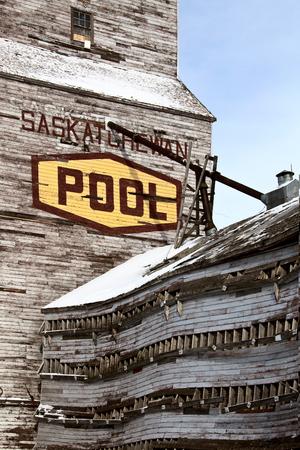 Delapitated Grain Elevator weathered in Saskatchewan Prairie