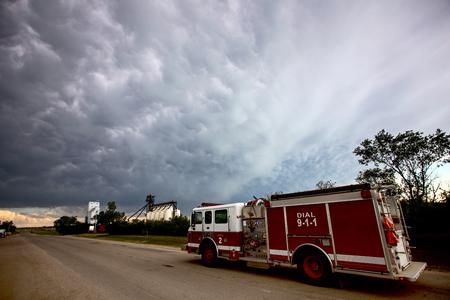 Prairie Storm Clouds Saskatchewan Canada SFire Truck Editorial