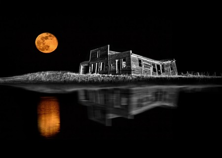 Ghost Town Night Stars Full Moon Saskatchewan Galillee