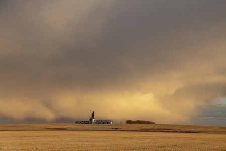 Prairie Storm Clouds rural Saskatchewan Grain Elevator