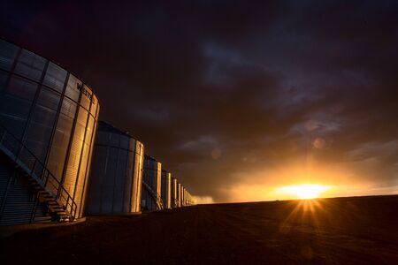 Prairie Storm Clouds Sunset in Saskatchewan Canada Banco de Imagens - 124977736