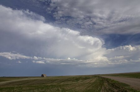 Prairie Storm Clouds in Saskatchewan Canada Rural Stock Photo