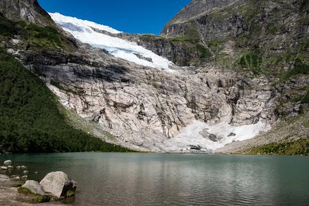 Snowfield over rocks