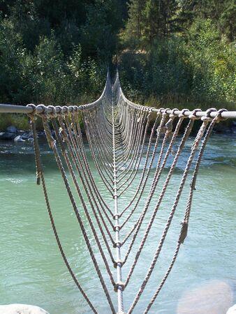 foot bridge: Rope Foot Bridge Stock Photo