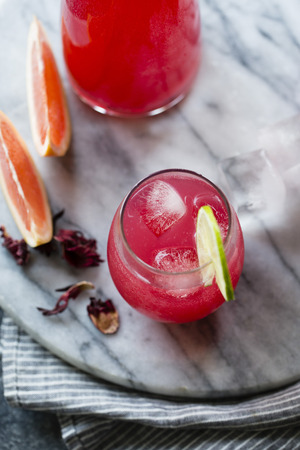 hibiscus ginger palomas. Cocktail, cousin to the margarita.