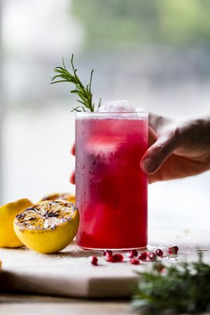 food: Pomegranate and rosemary cocktail