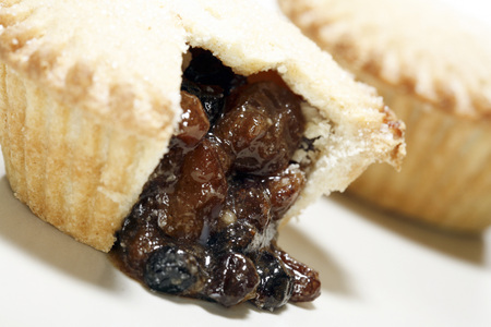 Mince pies on white background.