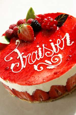 gateau: Sweet cakes from a patisserie. Strawberry gateau.