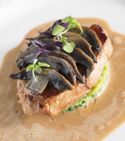 Pork fillet stroganoff served in a fine dining restaurant. LANG_EVOIMAGES