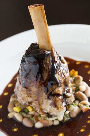 lamb shank: Lamb shank food from a fine dining restaurant LANG_EVOIMAGES