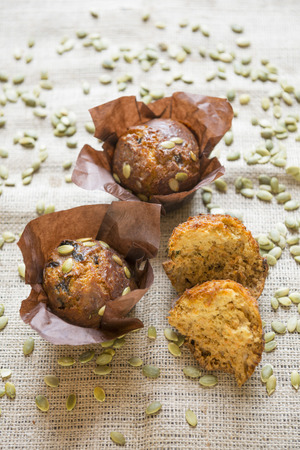 Pumpkin muffins and seeds. LANG_EVOIMAGES