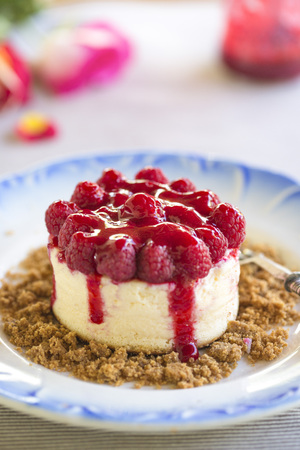 raspberry topped cheesecake on blue motif plate