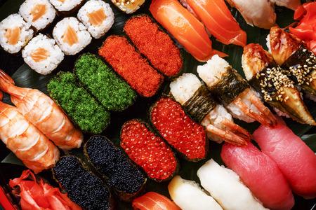 Sushi Set gunkan, nigiri and rolls close up LANG_EVOIMAGES