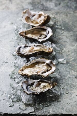 Open Oysters Fines de Claire on stone plate with ice LANG_EVOIMAGES