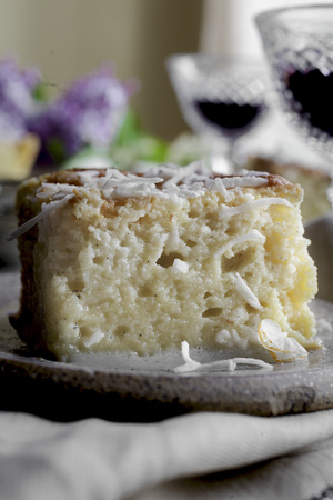 Gluten Free Tres Leches cake. A sponge cake soaked in three milks. LANG_EVOIMAGES