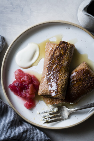 jewish: Cheese Blintzes with apple cranberry sauce