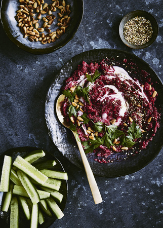 Beetroot dip with pine nuts, zatar, yogurt and cucumber sticks