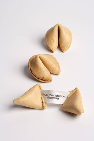 Chinese Fortune Cookies With A Message On White Background  photo