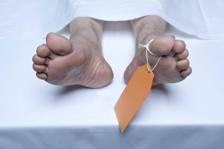 labeled: Labeled Feet Of A Corpse In The Morgue