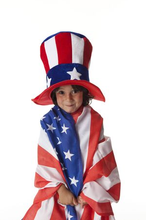 uncle:  Little boy dressed in a flag and hat from Uncle Sam