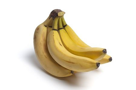 unpeeled: Bunch of unpeeled bananas on white background