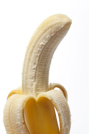 peeled banana:  Peeled banana with a skin