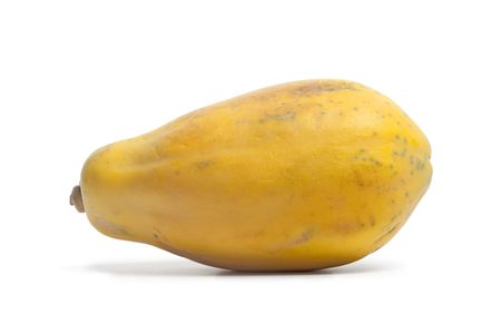 papaya: One whole single papaya fruit on white background