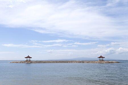 sanur: Two gazebo at the beach of Sanur, Bali, Indonesia