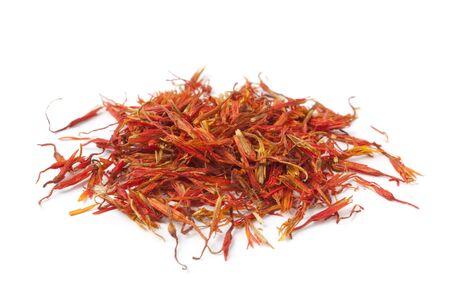Pile of Saffron on white background Stock Photo