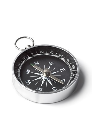 compass: Small pocket compass isolated on white background