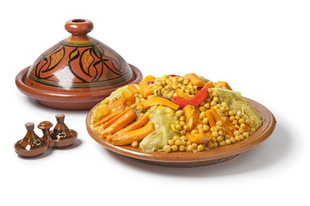 moroccan: Traditional Moroccan dish with couscous on white background
