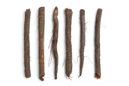 Fresh black salsify in a row on white background
