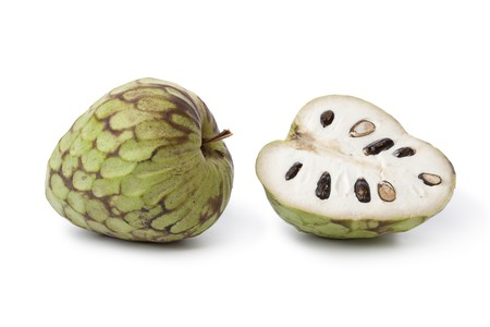sweetsop:  Whole and partial Cherimoya fruit isolated on white background Stock Photo