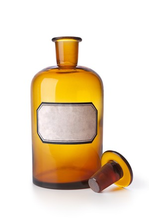 brown bottle: Medicine bottle with an empty label on white background