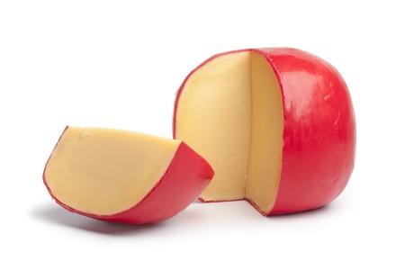 Dutch Edam cheese with a quarter on white background Stock Photo - 8192306