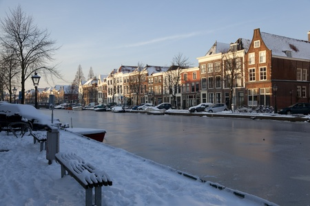 Frozen canal in winter in Holland photo