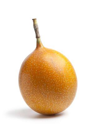 grenadilla:  Whole single orange passion fruit isolated on white background Stock Photo