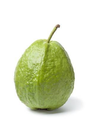 guava:  Whole sinfgle fresh guava isolated on white background