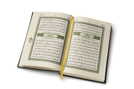 quran: Open Koran book isolated on white background Stock Photo