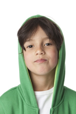 Portrait of a cool little boy with a hood on white background photo