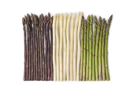 asparagus:  Purple, white and green asparagus  Stock Photo