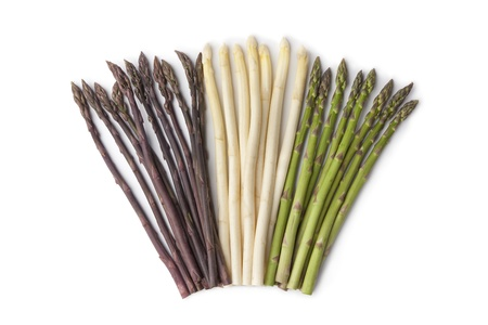 Purple, white and green asparagus  Stock Photo