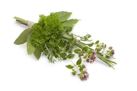 herbs de provence: Bouquet garni on white background Stock Photo
