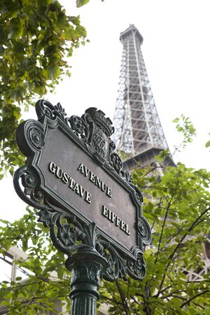 Streetname and Eiffel tower Paris France photo