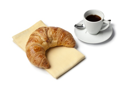 Breakfast with French croissant and espresso coffee on white background Banque d'images