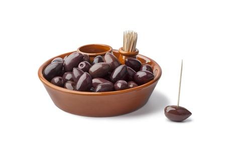 kalamata: Bowl with black Calamata olives on white background